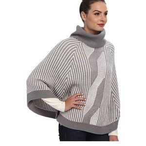 Calvin Klein Grey And White Poncho Sweater